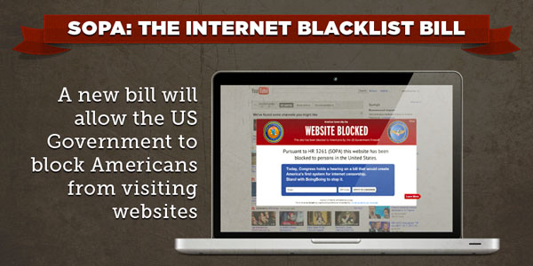 Infographic with details about SOPA, the Internet blacklist bill