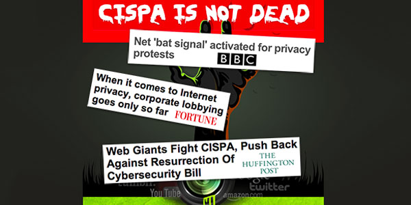 """CISPA is not dead"" with a zombie hand and quotes from journalists below"