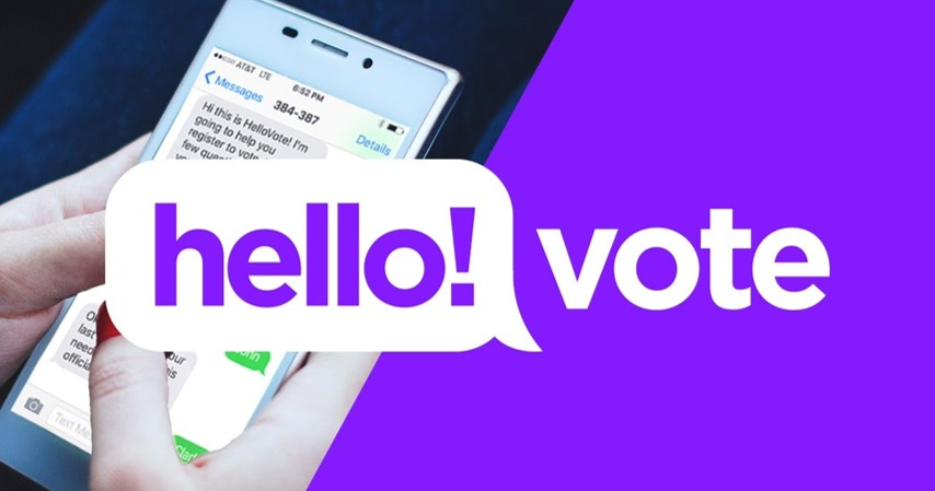 A woman uses the Hello Vote chatbot on her phone to register to vote.