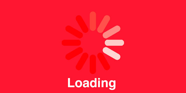 Loading spinner on a red background