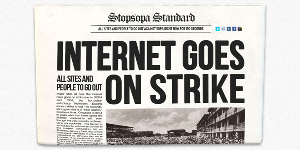"Newspaper with the headline ""The Internet goes on strike"""