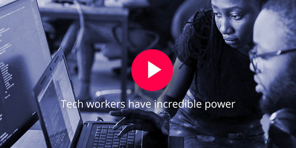 """Tech workers have incredible power"" over an image of a woman and a man coding together on a laptop"